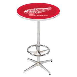 36 Detroit Red Wings Counter Height Pub Table   Chrome