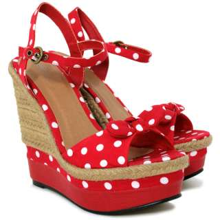 NEW WOMENS RAFFIA WEDGE POLKA DOT PLATFORM BOW SHOES SANDALS SIZE
