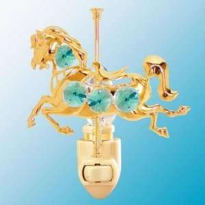 24k Gold Carousel Horse Night Light   Green Swarovski Crystal Baby