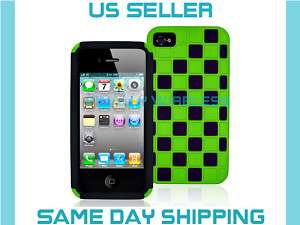 Green+Black Hard+Silicone Case Covers iPhone 4 4G 4th