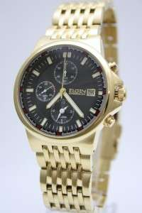 New Elgin Men Steel Gold Chronograph Date Watch 42mm FG1010