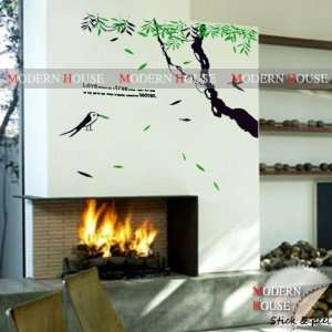 com Modern House Love Tree Heaven and Birds removable Vinyl Mural Art