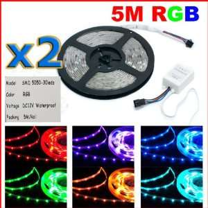 2 pcs*5M 500cm 5050 Waterproof IP65 RGB 150 SMD LED Lamp Light