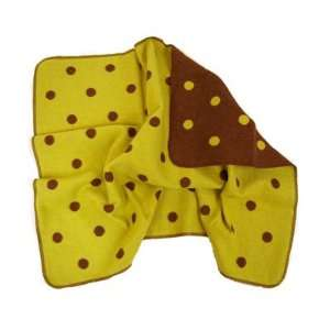 Juwel Brown and Kiwi Green polka dot baby blanket by David