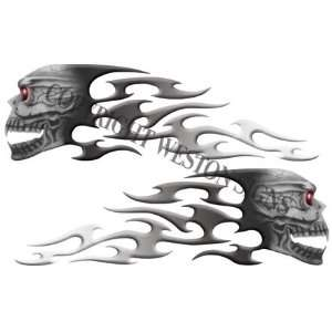 Gray Motorcycle Gas Tank Tribal Skull Flames Automotive