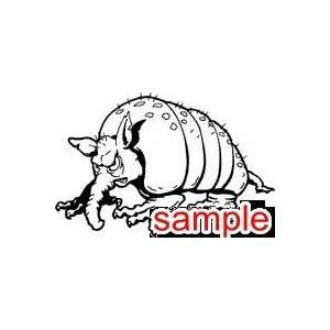 ANIMAL UGLY ARMADILLO WHITE VINYL DECAL STICKER