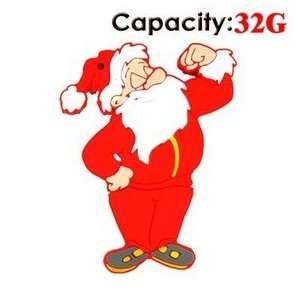 Cute Fist Santa Claus Shaped 32G Rubber USB Flash Drive
