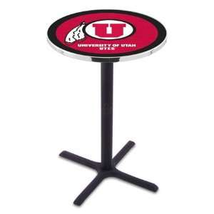 42 University of Utah Bar Height Pub Table   Cross Legs