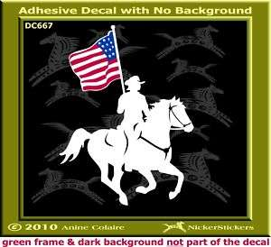 Drill Team Horse USA Flag Trailer Decal Sticker 667