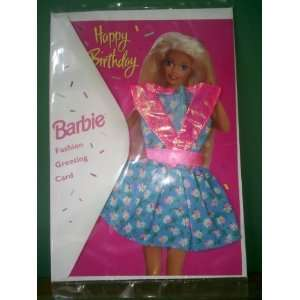 Happy Birthday Barbie Doll Fashion Greeting Card with Real