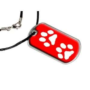 Paw Prints Red   Military Dog Tag Black Satin Cord