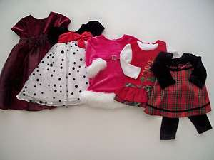 Baby Girl Christmas Dresses Tops Red Black White Pink Solids Plaid or