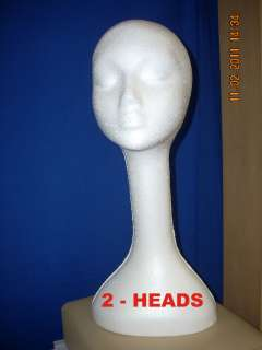 WHITE LONG NECK (19 TALL ) STYROFOAM MANNEQUIN WIG / HAT DISPLAY (2
