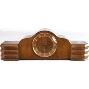 French Art Deco Westminster Mantle Clock Walnut