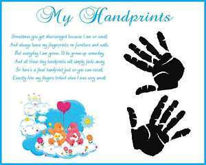 CARE BEARS Baby Boy Handprints Scrapbook Print Glossy