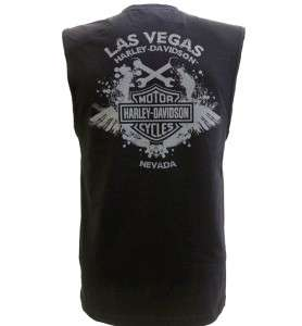 Harley Davidson Las Vegas Dealer Muscle T Shirt Sleeveless Black LARGE