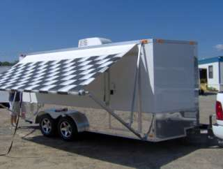motorcycle cargo trailer A/C unit awning White race trailer NEW