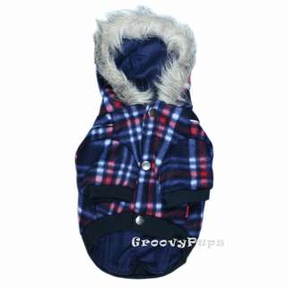 912 S~L Blue Check Thick Fleece Hooded Coat/Dog Clothes