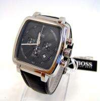 HUGO BOSS Mens Black Leather Chronograph Strap Watch 1512064 NWT $450