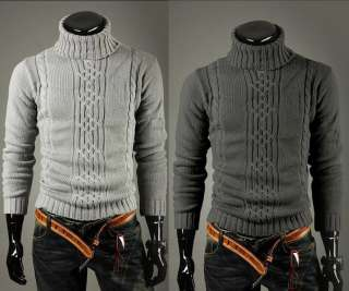 Mens premium slim fit turtle neck design knit sweater 2 color 3 size