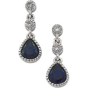 05.00 X 04.00 Mm Pair 14K White Gold Sapphire & Diamond