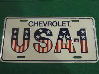 CHEVROLET USA 1 LICENSE PLATE AMERICAN FLAG SIGN L97
