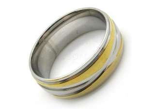 Mens gold silver party love weding finger ring stainless steel gift