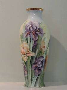 Antique Hand Painted Porcelain Floor Vase, signed