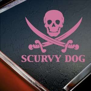 Scurvy Dog Skull Pink Decal Car Truck Window Pink Sticker