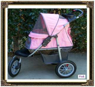 Pet Dog Cat All Terrain ★Jogging Stroller Jogger Sporty Carrier Pink