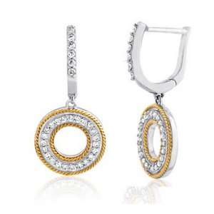 14k TWO TONE GOLD WOMENS EARRING LE 3837 DIAMOND 0.4CT TW Jewelry