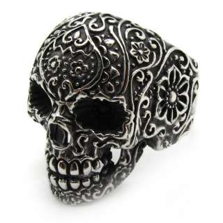 Mens gothic poker skull flower stainless steel silver finger ring