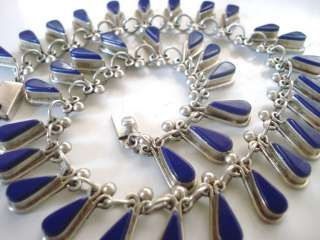 LAPIS NECKLACE TEARDROP MEXICO MEXICAN STERLING SILVER LAZULI