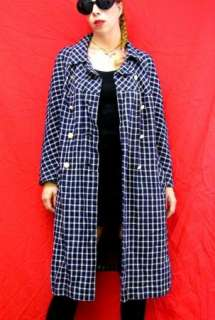 MOD 60s Vtg Navy Blue & White Check Car Winter Coat L