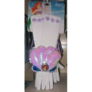 Disney Park Ariel Little Mermaid Costume Gloves Purse Set