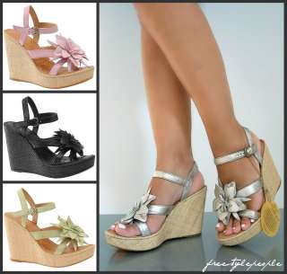 NWOB New BORN Black Pink Green Gold MISS Espadrille Flower Wedge