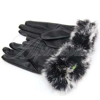 Winter Warm Rabbit Fur & PU Leather Full Finger Waist Gloves