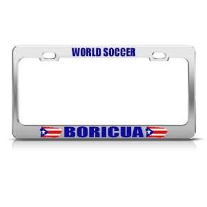 Boricua Puerto Rico Flag World Soccer Metal license plate