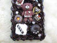 3D Cute Cream Candy Bear Cake Bling Case for iPhone 4 4S Black or