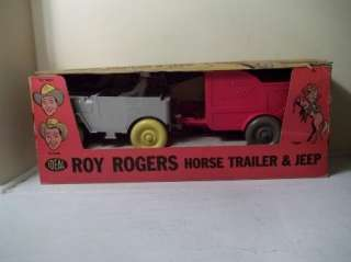 RARE 1957 ROY ROGERS HORSE TRAILER & JEEP IDEAL TOY IN BOX VINTAGE