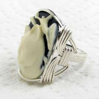 Calla Lily Cat Cameo Ring Sterling Silver Custom Jewelry
