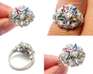 ANTIQUE DIAMOND SAPPHIRE WHITE GOLD EASTERN STAR LADIES MASONIC
