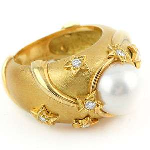 Chanel Stars Pearl and Diamond 18k Yellow Gold Ladies Designer Ring