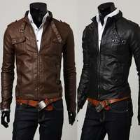 PY03 New Mens Slim Fit Faux Leather PU Jackets Coats Brown Black US XS