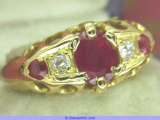 ANTIQUE 18ct GOLD ART DECO 1915 RUBY & DIAMOND RING