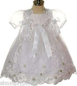 BABY Infant Toddler GIRL CHRISTENING GOWN BAPTISM White DRESS SIZE 0