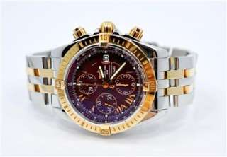 MENS BREITLING CHRONOMAT EVOLUTION 18KT GOLD SS C13356 WATCH BOX