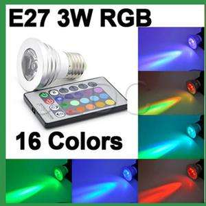 10 X E27 16 Color RGB IR Change LED Light lamp 3W Bulb with Remote