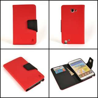 Note i9220 N7000 i717 Edge leather Case red+black two tone