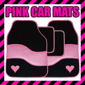NEW 4 PC UNIVERSAL FIT CAR MATS PINK LOVE HEART MAT SET